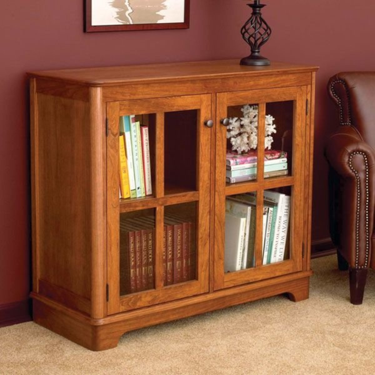 View A Larger Image Of Woodworking Project Paper Plan To Build Glass Door  Bookcase