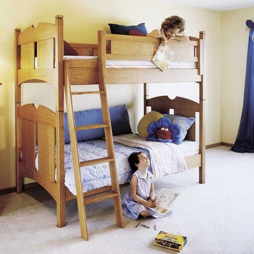 View a Larger Image of Woodworking Project Paper Plan to Build Kid's Oak Bunk Beds