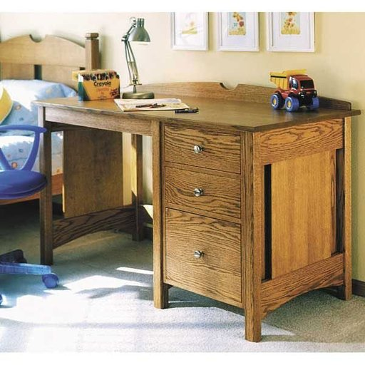 View a Larger Image of Woodworking Project Paper Plan to Build Kid's Oak Desk