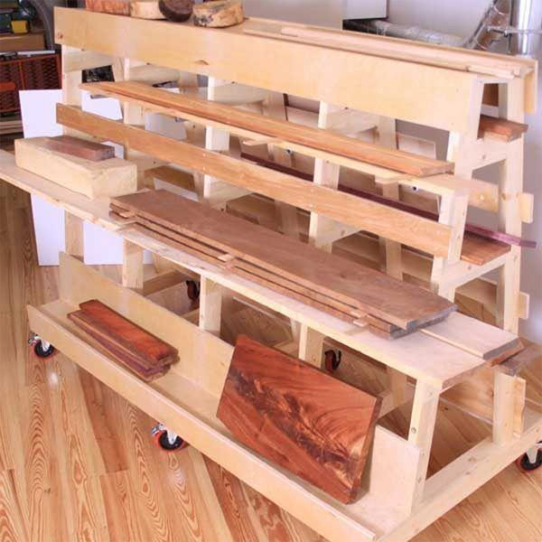 Woodworking project paper plan to build lumber sheet for Mobile lumber storage rack plans