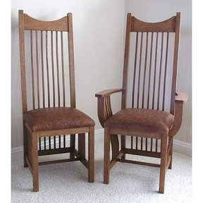 Woodworking Project Paper Plan to Build Mission Style Contemporary Dining Chairs - Side and Captain