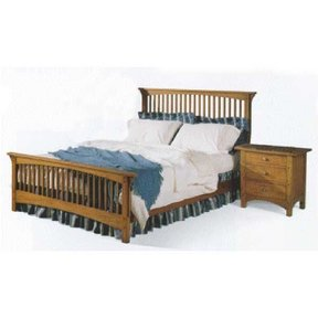 Woodworking Project Paper Plan to Build Mission Style Queen-sized Bed and Night Stand, AFD236