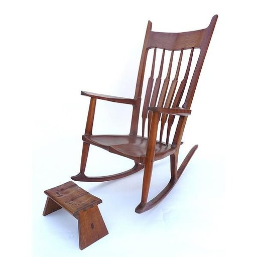 View a Larger Image of Woodworking Project Paper Plan to Build Nancy's Rocker and Footstool, AFD415