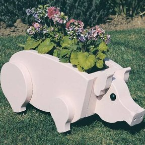 Woodworking Project Paper Plan to Build Pig Planter, Plan No. 890