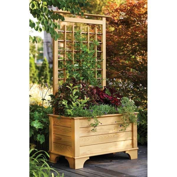 woodworking project paper plan to build planter box and trellis
