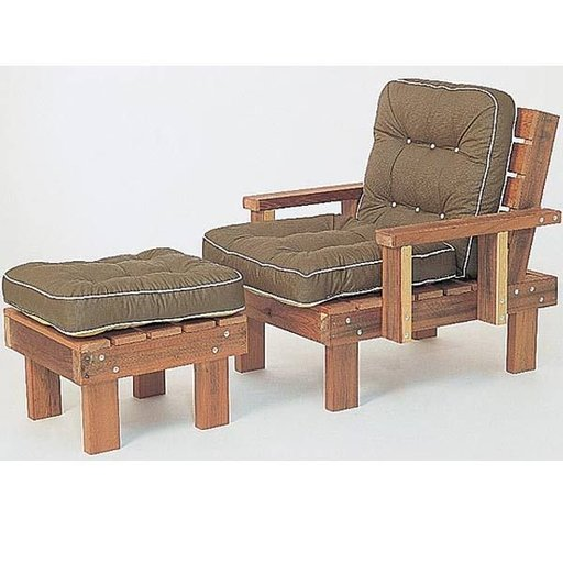 View a Larger Image of Woodworking Project Paper Plan to Build Redwood Chair & Ottoman, Plan No. 640