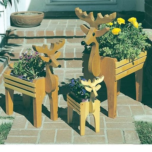 View a Larger Image of Woodworking Project Paper Plan to Build Reindeer Planters, Plan No. 745
