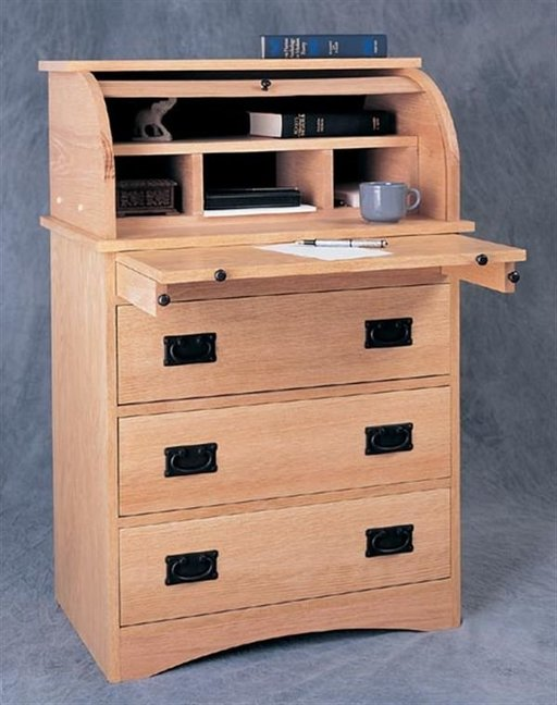 View a Larger Image of Woodworking Project Paper Plan to Build Roll-Top Secretary, Plan No. 933