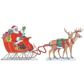Woodworking Project Paper Plan to Build Santa & Sleigh And 8 Reindeer, Plan No. C152