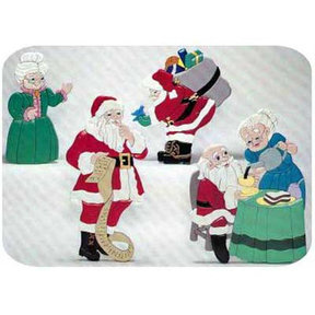 Woodworking Project Paper Plan to Build Santa with Mrs Claus Intarsia