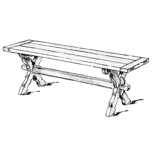 View a Larger Image of Woodworking Project Paper Plan to Build Sawbuck Bench