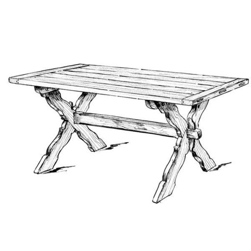 View a Larger Image of Woodworking Project Paper Plan to Build Sawbuck Dining Table