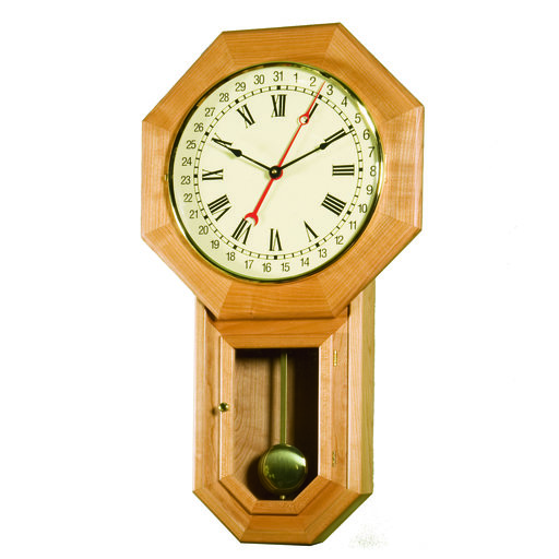 View a Larger Image of Woodworking Project Paper Plan to Build Schoolhouse Regulator Clock