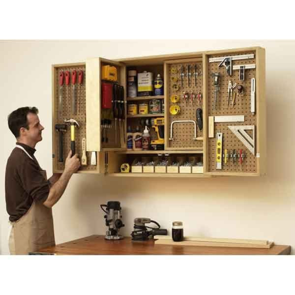 Built In Storage Cabinet Plans: Woodworking Project Paper Plan To Build