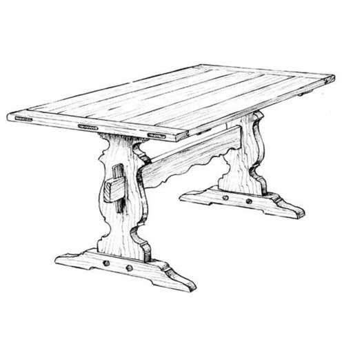 View a Larger Image of Woodworking Project Paper Plan to Build Trestle Dining Table
