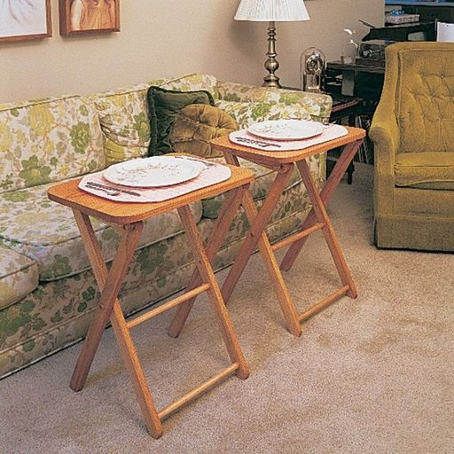View a Larger Image of Woodworking Project Paper Plan to Build TV Tables & Stand, Plan No. 760