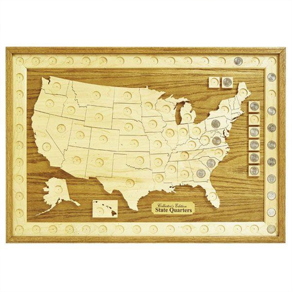 Woodworking Project Paper Plan To Build US State Quarter - Us quarter collector map
