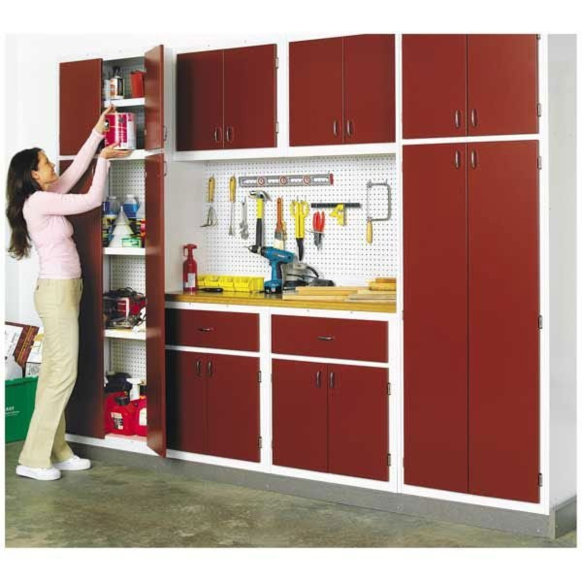 Easy Garage Cabinets Plans: Woodworking Project Paper Plan To Build