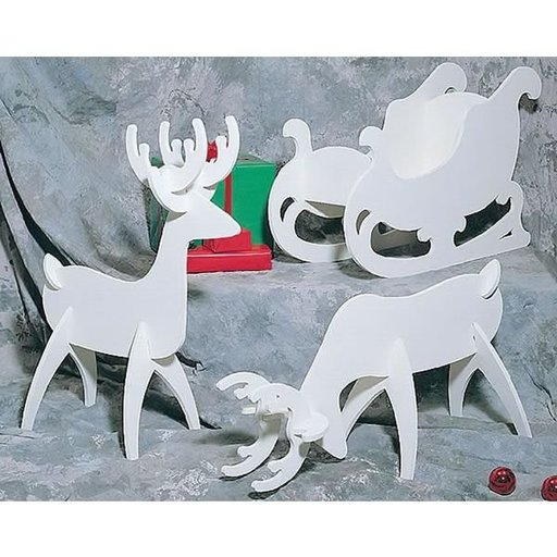 View a Larger Image of Woodworking Project Paper Plan to Build White Reindeer & Sleigh, Plan No. C122