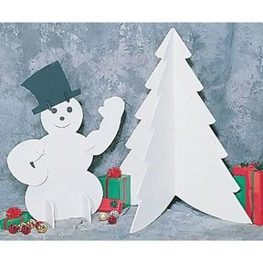 Woodworking Project Paper Plan to Build White Snowman & Tree, Plan No. C133