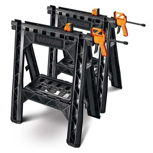 View a Larger Image of Clamping Sawhorses with Bar Clamps