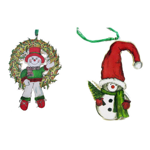View a Larger Image of Wreath & Snowman Ornaments  Woodworking Pattern and Picture