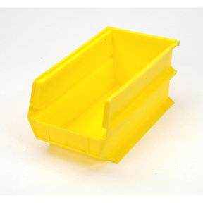 Yellow Stacking, Hanging, Interlocking Polypropylene Bins, 6 CT